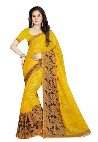 Trendy Yellow Georgette Sarees Floral & Leaf Print Broad Border Work Printed Sarees