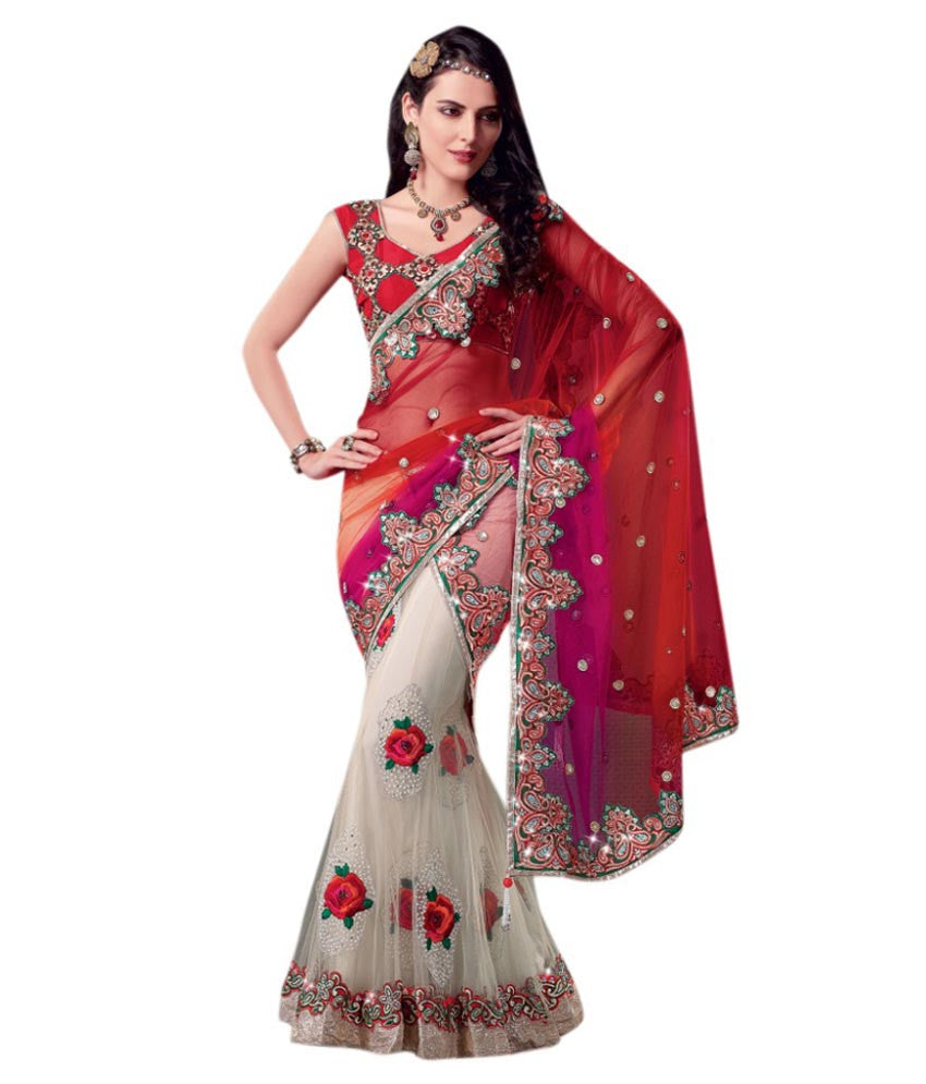 bdef39403f1ccf Designer Net Sarees Red   White Color Floral Embroidery   Stone Work Net  Saree For Women – Lady India