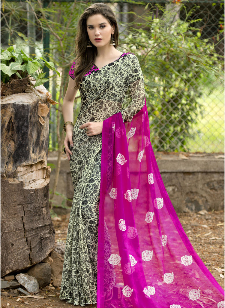 32353391156 Designer Pink   Black Printed Saree Chiffon Printed Sarees – Lady India