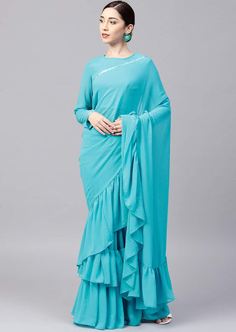 Turquoise Blue Georgette Ruffle Saree