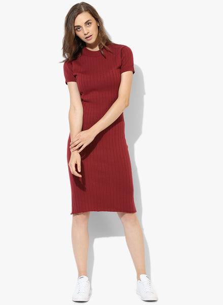 maroon-coloured-striped-pattern-shift-dress-sft08
