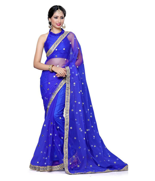 Designer Net Sarees Blue Color Butti & Embroidery Lace Border Work Net Saree For Women