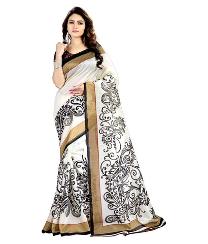 Bhagalpuri Silk Saree White Color Bhagalpuri Printed Sarees