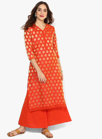 Kurta With Palazzo V Neck 3/4Th Sleeves Brocade Kurta With Palazzo Party Wear Salwar Suit Set For Women