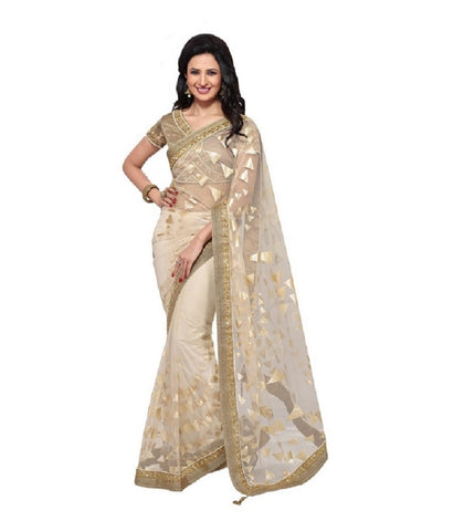 Beige Color Net Saree Designed With Golden Embroidery & Lace Border Work
