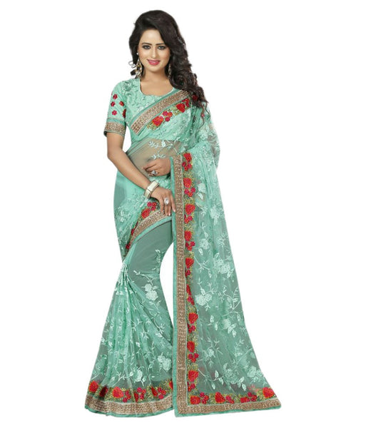 Designer Net Sarees Sea Green Color Rose Embroidery Border Work Net Saree