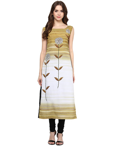 Designer Crepe Kurtis Multicolor Sleeveless Digital Print Long Crepe Kurtis