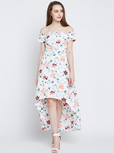 White Floral Printed Dress