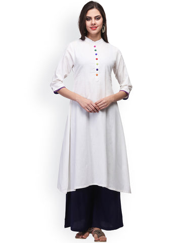 White Plain Cotton Anarkali Kurti Printed Cotton Anarkali Kurtas Online