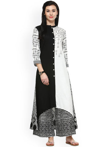 6673bd7743 Shop Online White & Black Printed Kurta with Palazzos Printed Palazzo  Halter Neck Suit – Lady India