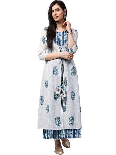 White & Blue Booti Print A-line Cotton Kurta Designer Layered Anarkali Kurtas
