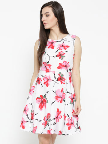 White & Red Floral Print Fit & Flare Dress