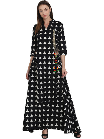Women Black Printed Kurta with Skirt - Kurta Skirt Dupatta Online