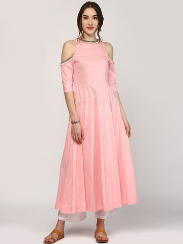 Ladyindia Festival Offer Women Pink Solid Anarkali Kurta