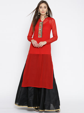 Women Red & Black Solid Kurta with Skirt Red Straight Calf Length Kurta Skirt Set