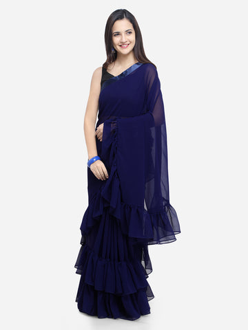 Women's Georgette Blue Ruffle Sarees