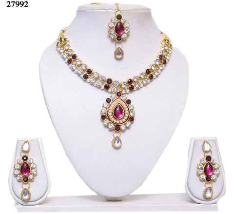 Women's Chokers Jewelry Magenta & White Colored Alloy With Moti & Diamond Choker Necklace