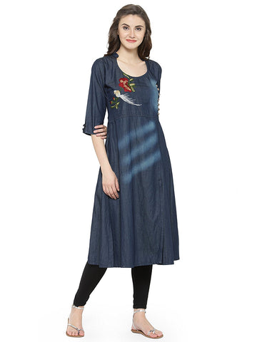 Women's Cotton Blue Denim Kurti Denim Anarkali Kurta