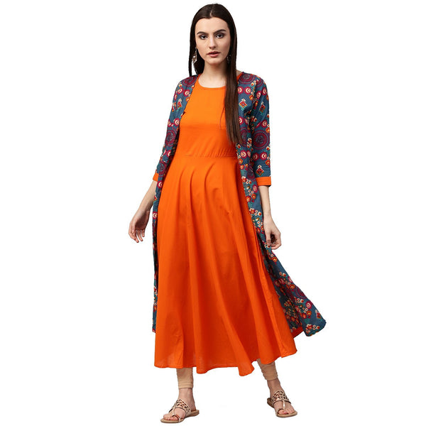 Women's Cotton A-Line Kurti Designer Layered Anarkali Kurtas