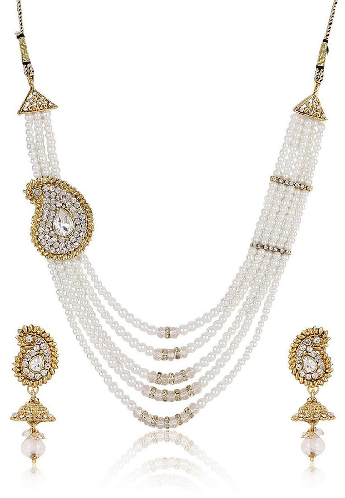 6d2091d3a64 White   Gold Pearl Necklace With Earrings Set Pearl Necklace Set For W –  Lady India