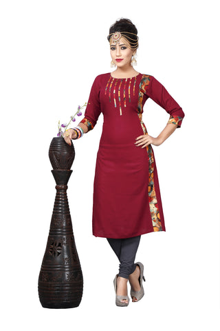 Year End Sale Maroon Printed Kurti Long Rayon Kurtis & Kurtas
