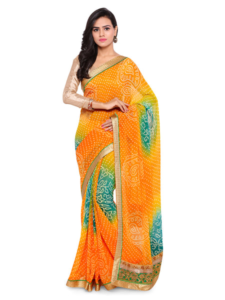 Yellow Bandhani Print Poly Georgette Saree - Leheriya Work Bandhani Sarees