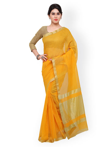 Yellow Bhagalpuri Art Silk Traditional Saree
