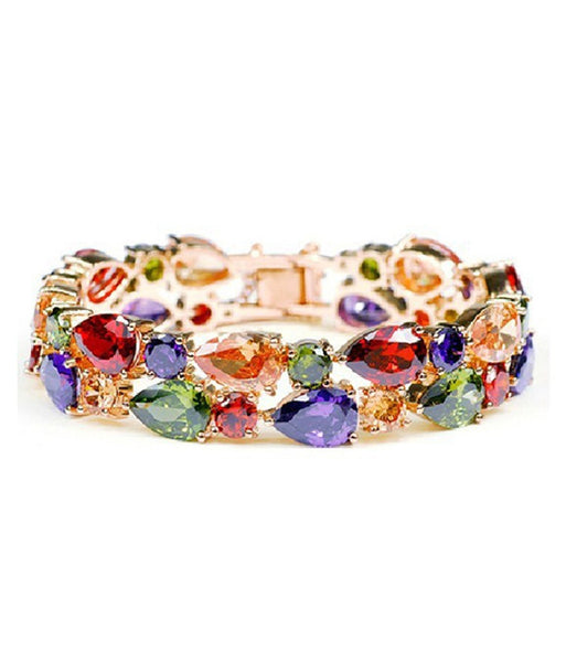 Multicolors Flowerets Vine Swiss Cz 18k Rose Gold Plated Bracelet For Women