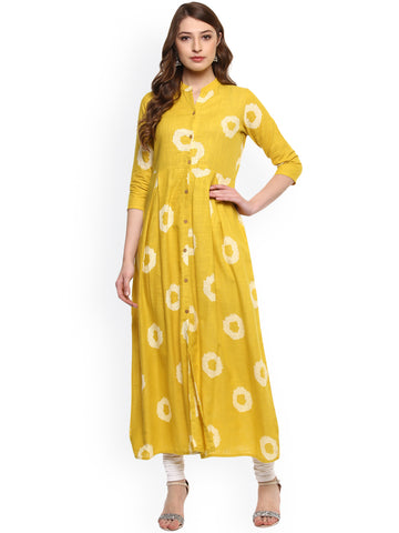 Yellow Embroidered Cotton Anarkali Kurti Best Printed Cotton Anarkali Kurta