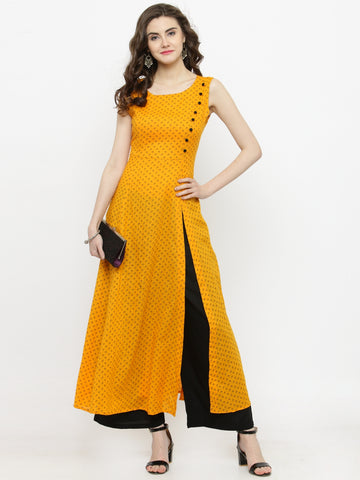 Yellow & Black Printed Kurta with Palazzo