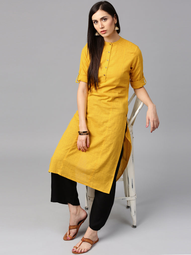 db9be8cfe1 Yellow & Black Cotton Long Kurta With Palazzo Salwar Suits Online – Lady  India