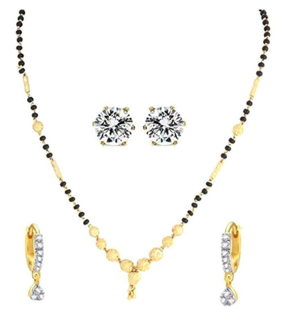 Latest Jewellery Traditional Designer Gold Plated 1 Mangalsutra, 1 Bali & 1 Earring - Combo Of 3 Jewellery For Women