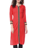 Designer Long Kurtis & Kurtas For Women Red Rayon Kurta