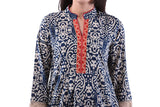 Classy Printed Cotton Anarkali Blue Kurti For Women