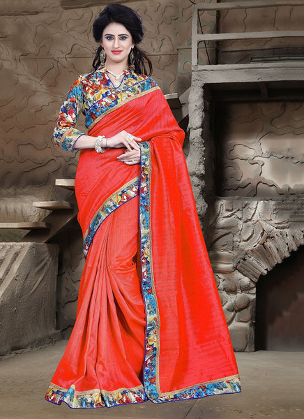 Urban-Naari-21715-Red-Colored-Bhagalpuri-Silk-Printed-Saree