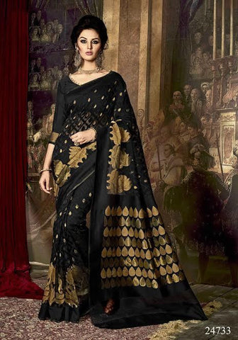 Art Silk Sarees Black & Golden Designer Silk Sarees With Dyed Weaving Work