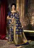 Silk Sarees Navy Blue & Golden With Dyed Woven Work Printed Silk Sarees