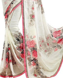 Shop Online Designer Printed White Saree For Women