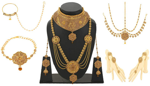 Alloy Golden Jewel Set - Bridal Jewellery Set