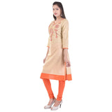 Casual Beige Cotton Kurta And kurtis Embroidered Straight Cotton Kurti