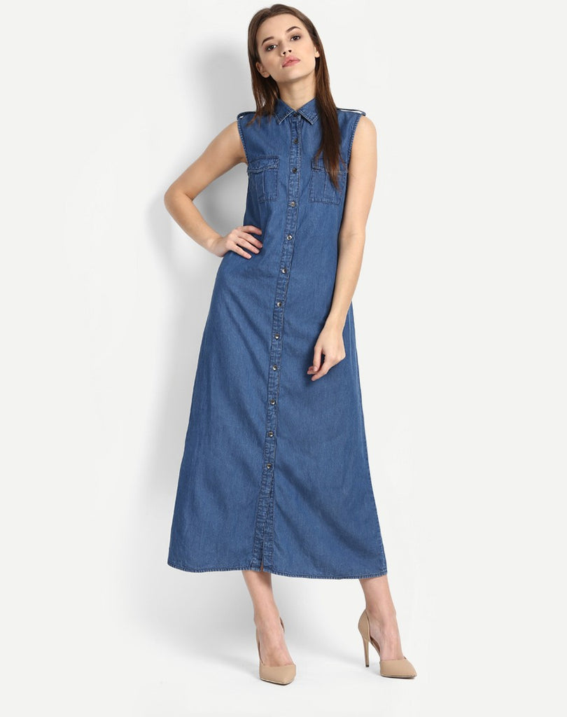 0074f93cc0 Buy Online Designer Denim Maxi Shirt Dress Online Dresses For Women at Best  Prices – Lady India