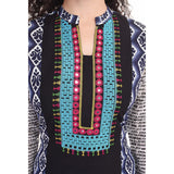 Stylish Cotton Black Blue Kurti For Women