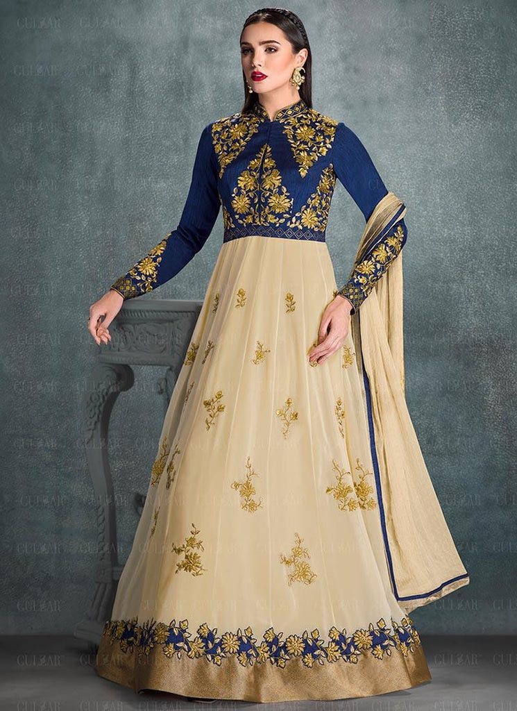 121da2517 Shop Online Designer Blue and Cream Color Georgette Floor Length Partywear  Patch work Anarkali Suit – Lady India
