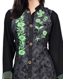 Trendy Stylish Floral Black Kurti For Women