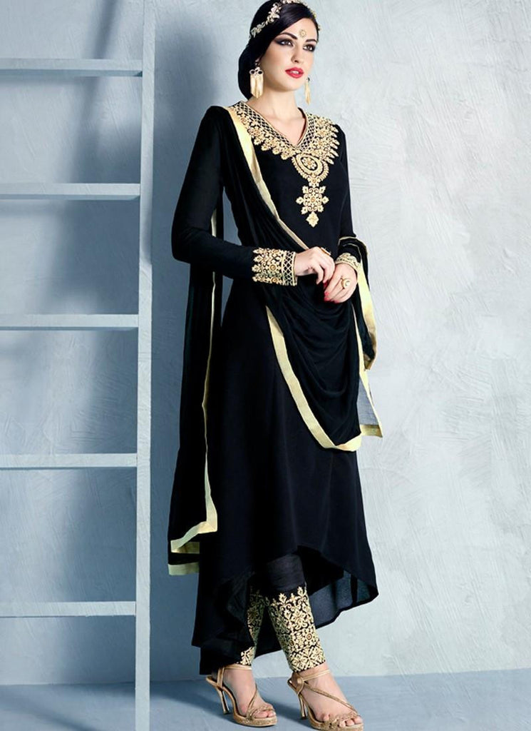 dbf4f0fb42 Online Shopping Black Color Georgette Designer Partywear Anarakli Suit High  Low Pattern With Heavy Embroidery Work – Lady India