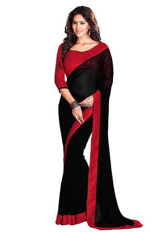 Black and Red Saree - Georgette Saree With Blouse Piece