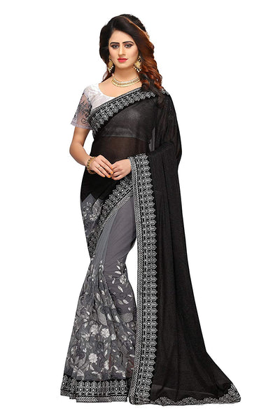 Designer Black and Silver Saree