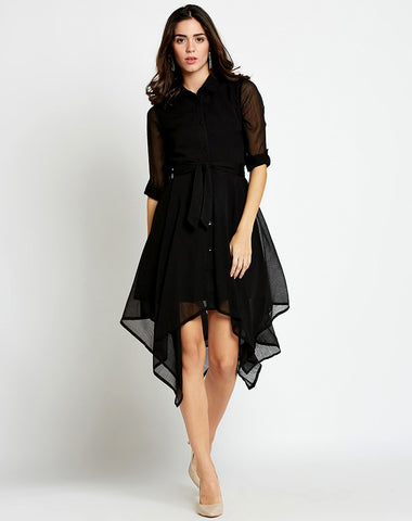 black-dress-designer-asymmetrical-shirt-dress-with-3/4-sleeves