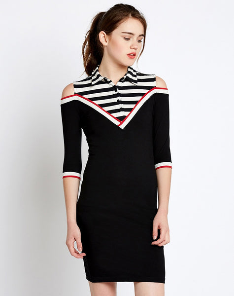 black-cold-shoulder-long-sleeve-bodycon-dress-stripes-print-