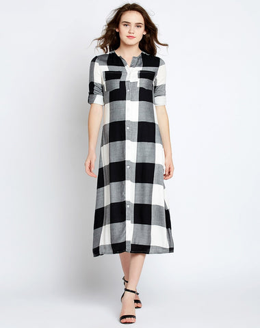 black-&-white-check-print-shirt-dress-midi-dresses
